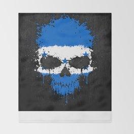 Flag of Honduras on a Chaotic Splatter Skull Throw Blanket