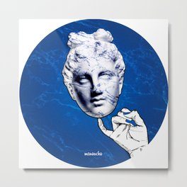 MIND GAME BLUE / Marble statue head Metal Print