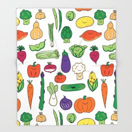 Cute Smiling Happy Veggies on white background Throw Blanket