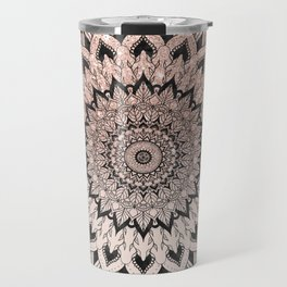 Boho black watercolor floral mandala rose gold glitter ombre pastel blush pink Travel Mug