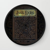 jane eyre Wall Clocks featuring Jane Eyre by Charlotte Bronte, Vintage Book Cover by ForgottenCotton