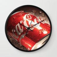 coca cola Wall Clocks featuring Coca Cola by MarianaManina
