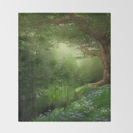 Summer Forest River Throw Blanket