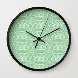 green Japanese Hemp Kimono Pattern Tie Dye Bitta Wall Clock