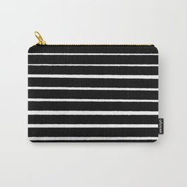 Rough White Thin Stripes on Black Carry-All Pouch