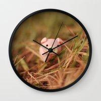 pig Wall Clocks featuring Pig by Natália Viana ♥