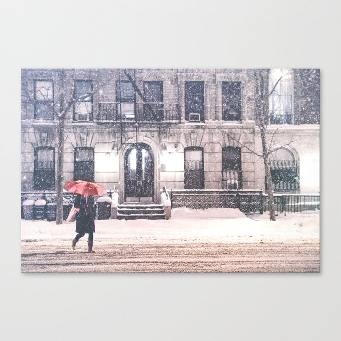 New York City Snow and Red Umbrella Canvas Print