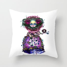 Beasts of Botanica - Black Mourning Bride's Extravagant Wedding Throw Pillow