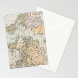 Vintage Map of The World (1892) Stationery Cards