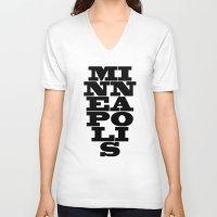 minneapolis V-neck T-shirts featuring Minneapolis by Jeremy Jon Myers