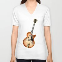 guitar V-neck T-shirts featuring Guitar by Bridget Davidson