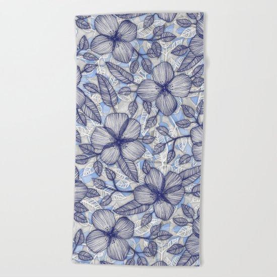 Indigo Summer - a hand drawn floral pattern Beach Towel