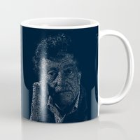 kurt rahn Mugs featuring Kurt Vonnegut Typographic Print by Bookish Prints