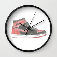 air jordan Wall Clocks featuring Air Jordan 1 Retro High  by Ivana Citakovic