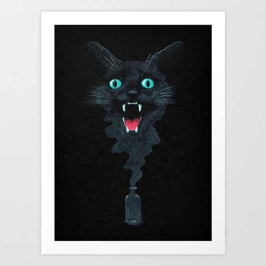 Black Cat Magic Art Print