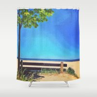 michigan Shower Curtains featuring Lake Michigan by Litew8