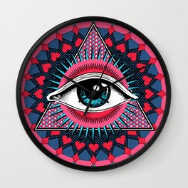 Eye of Providence pink & blue Wall Clock