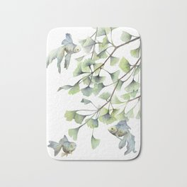 Mint Green Ginkgo Leaves and Green Goldfish Watercolor Design Bath Mat