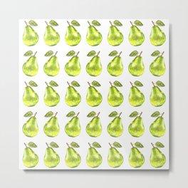 Watercolor Green Pear Zig-Zag Pattern Metal Print