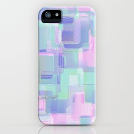 Abstraction. Pink and blue brush strokes. iPhone Case