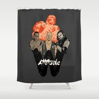 wrestling Shower Curtains featuring Attitude Wrestling  by RJ Artworks