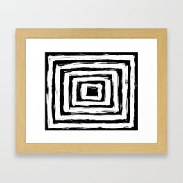 Minimal Black and White Square Rectangle Pattern Framed Art Print