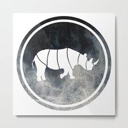 Rhino Illustration Metal Print