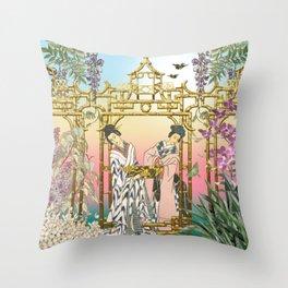 Geishas at the Gate Throw Pillow