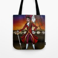 captain hook Tote Bags featuring Captain Hook by Callie Clara