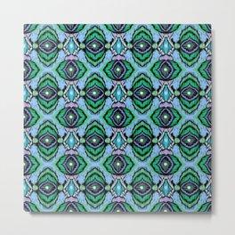 Ethnic blue green ornament 3 Metal Print