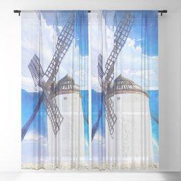 wind mill landscape digital aquarell aqstd Sheer Curtain