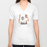 bulldog V-neck T-shirts featuring Bulldog by jo clark