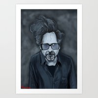 tim burton Art Prints featuring Tim Burton by Kostas Roussos