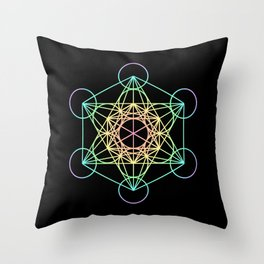 Metatron's Cube- Rainbow on Black Throw Pillow