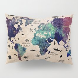 Oceans Life World Map #map #worldmap Pillow Sham