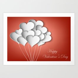 Balloons hearts from paper Valentine's Day Art Print