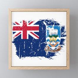 Distressed Falkland Islands Malvinas Flag Graffiti Framed Mini Art Print