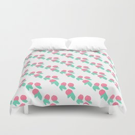 Geometrical abstract pink teal fruit pattern Duvet Cover