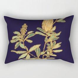 Banksia on Indigo Blue Botanical Illustration Rectangular Pillow