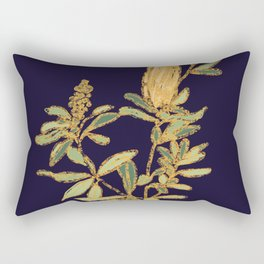 Banksia on Indigo Blue Botanical Illustration Rectangular Pillow
