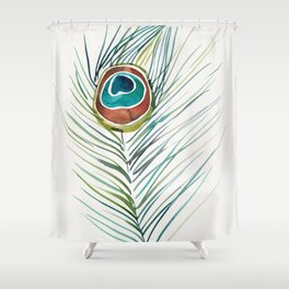 Peacock Tail Feather – Watercolor Shower Curtain
