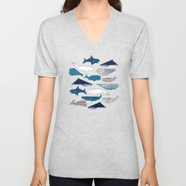 Origami Sea // linen texture and nautical stripes background teal white and taupe whales Unisex V-Neck