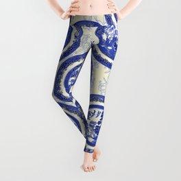 Vintage Blue Willow Plates Leggings