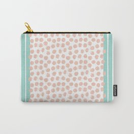 Mint Stripes & Pink Dots Carry-All Pouch