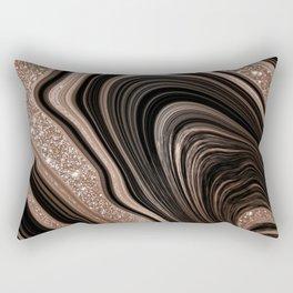 Black & Rose Gold Agate  Rectangular Pillow