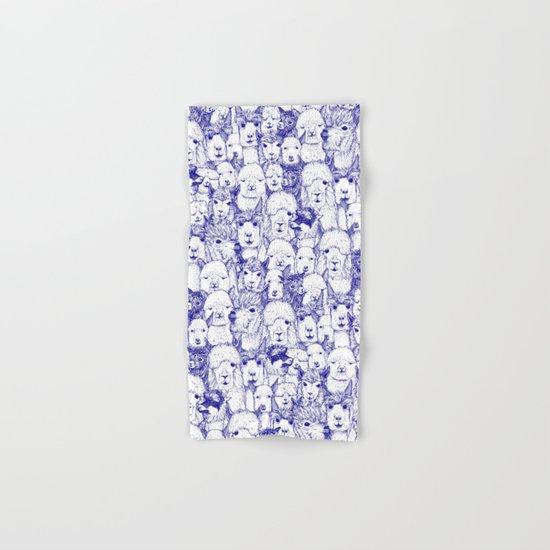 just alpacas blue white Hand & Bath Towel
