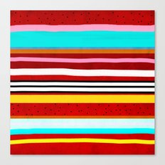 Watermelon Red Striped Colors Canvas Print