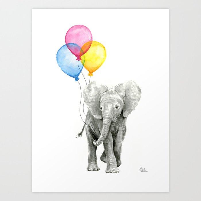 Baby Elephant With Balloons Nursery Animals Prints Whimsical Animal Art Print