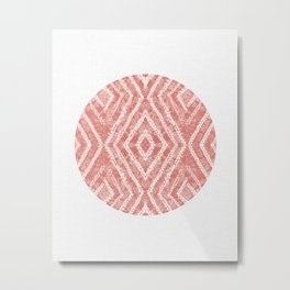 Peach Circle African Dye Resist Fabric Adire Boho Chic Metal Print