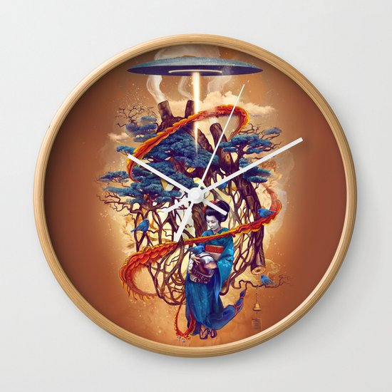 Pine container Wall Clock